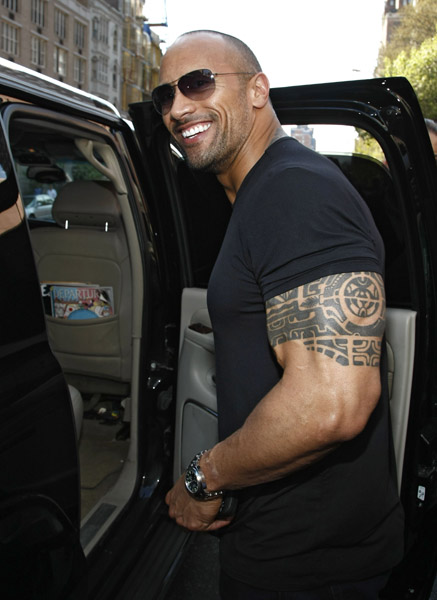 "Dwayne ""The Rock"" Johnson on the streets of Manhattan on April 25, 2009 in New York City."